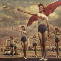 Donne in esercizio con i conil Women's exercise with clubs 1955  - Museo Nazionale - Praga